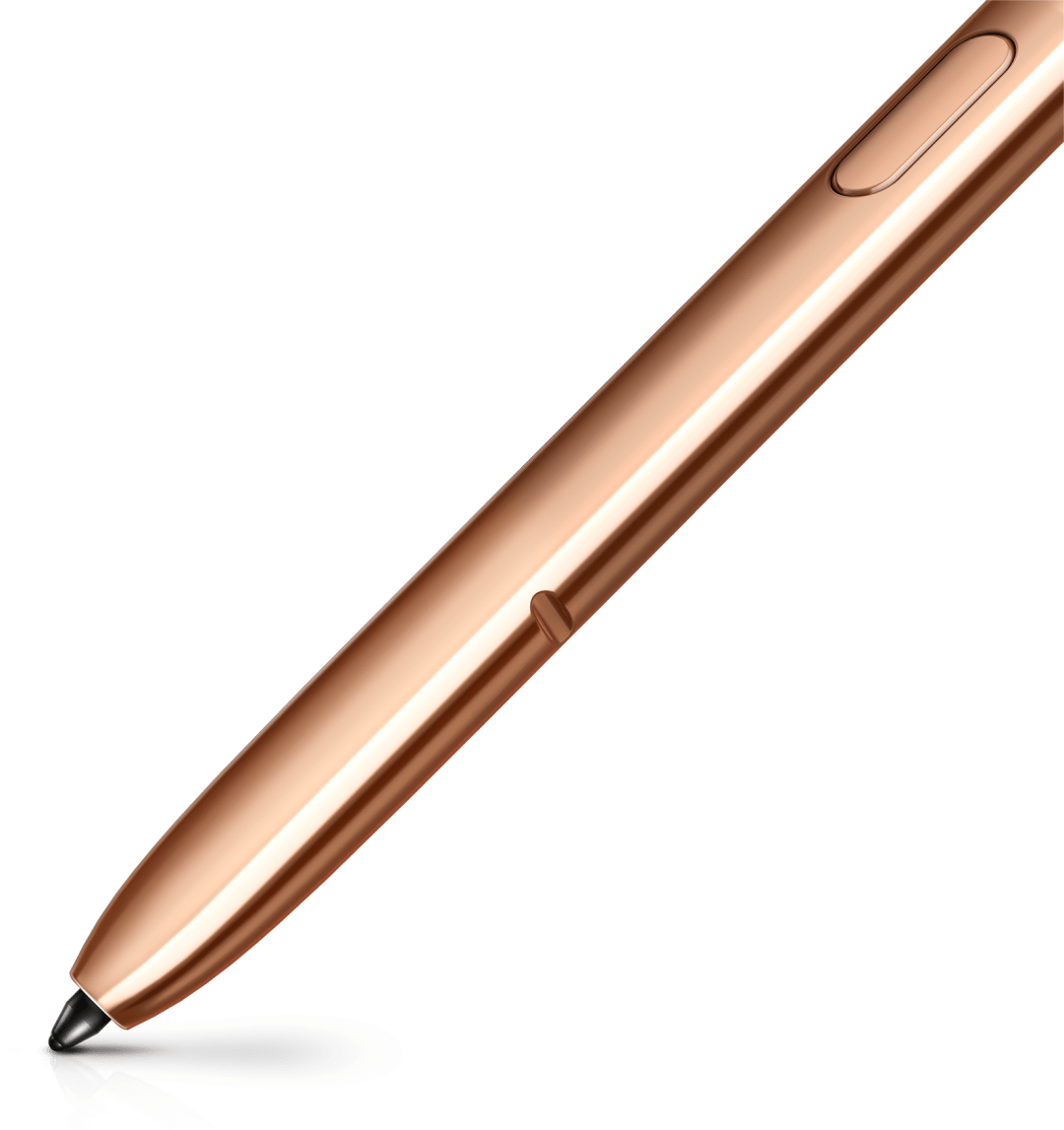 Extreme closeup of the lower portion of the bronze S Pen, showing its precise tip. There is a streak of bronze following the tip.