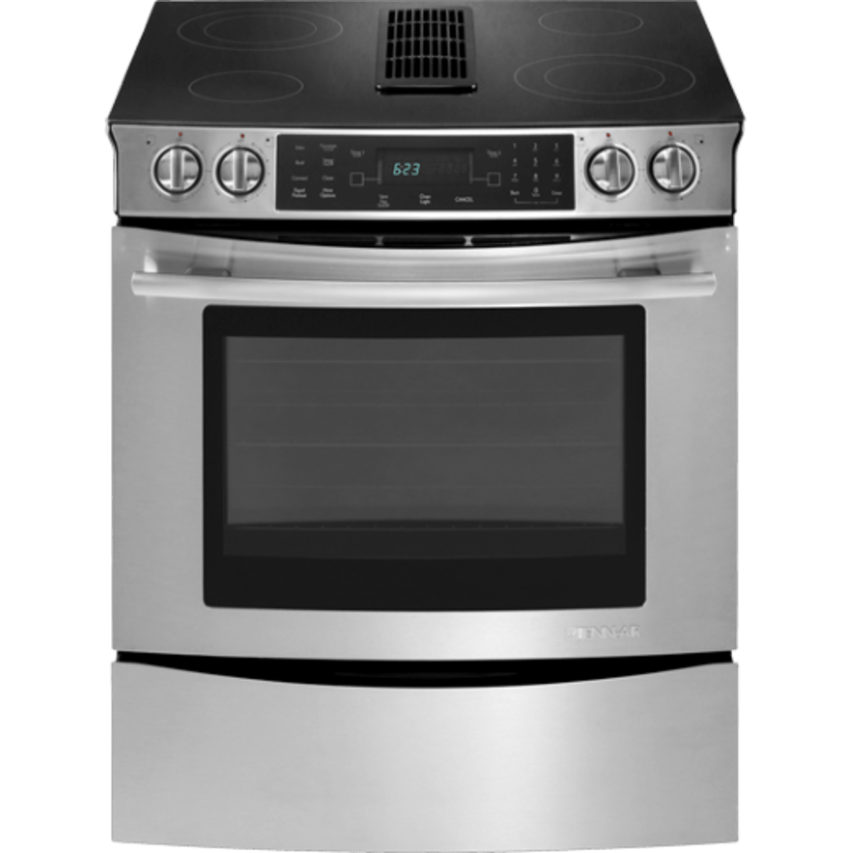 slide in electric range with downdraft