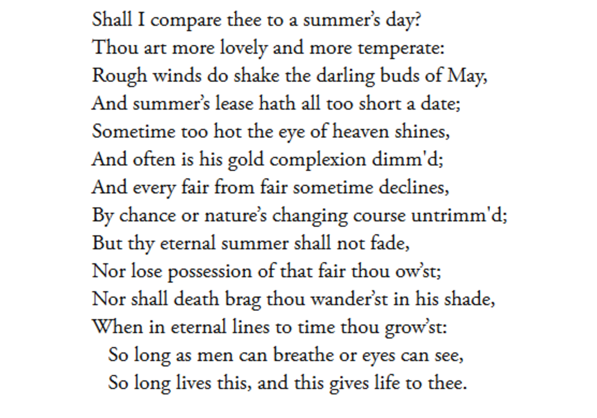 Summary And Fullysis Of Sonnet 18 By William