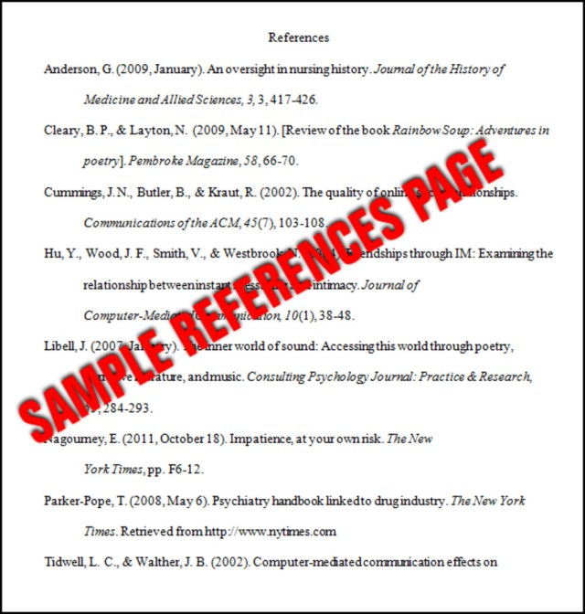 Essay Basics: Format a References Page in APA Style - Owlcation