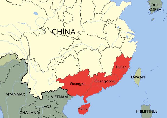 The Hakka people came from Fujian, Guangdong, Guangxi, and Hainan.