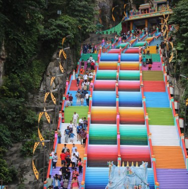 Batu Caves Got A Rainbow Makeover