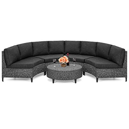 piece wicker half circle sectional