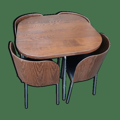 table avec chaise encastrable vintage
