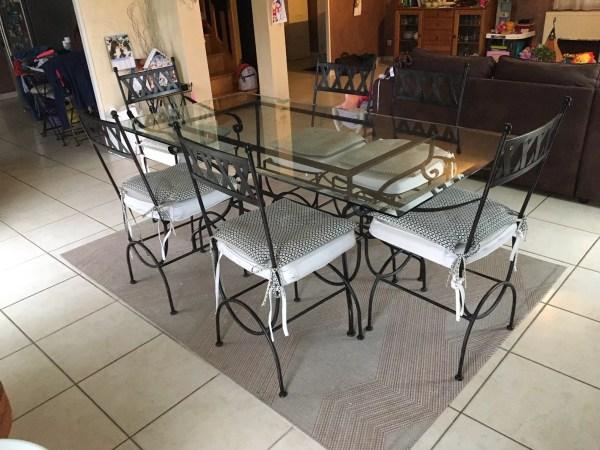 table en fer forge et verre 180 x 90 et 6 chaises selency