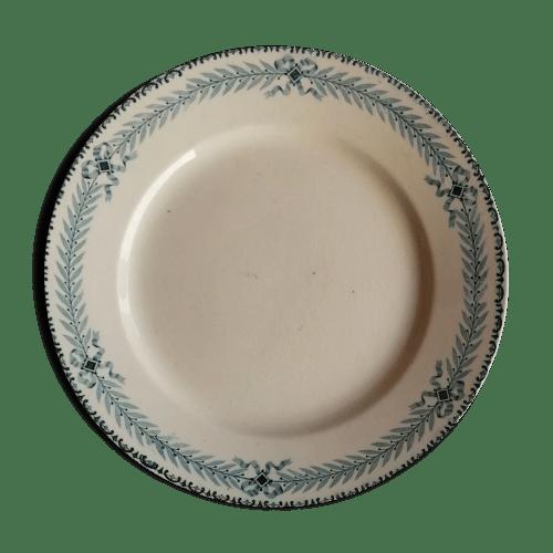 6 assiettes anciennes terre de fer hte boulenger modele chinon xixeme
