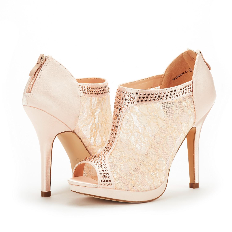 Dream Pairs Womens Lady Peep Toe Fashion Dress High Heel