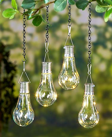 Set Of 2 Led Hanging Solar Lights Light Bulb Outdoor Patio Decor Back Porch New