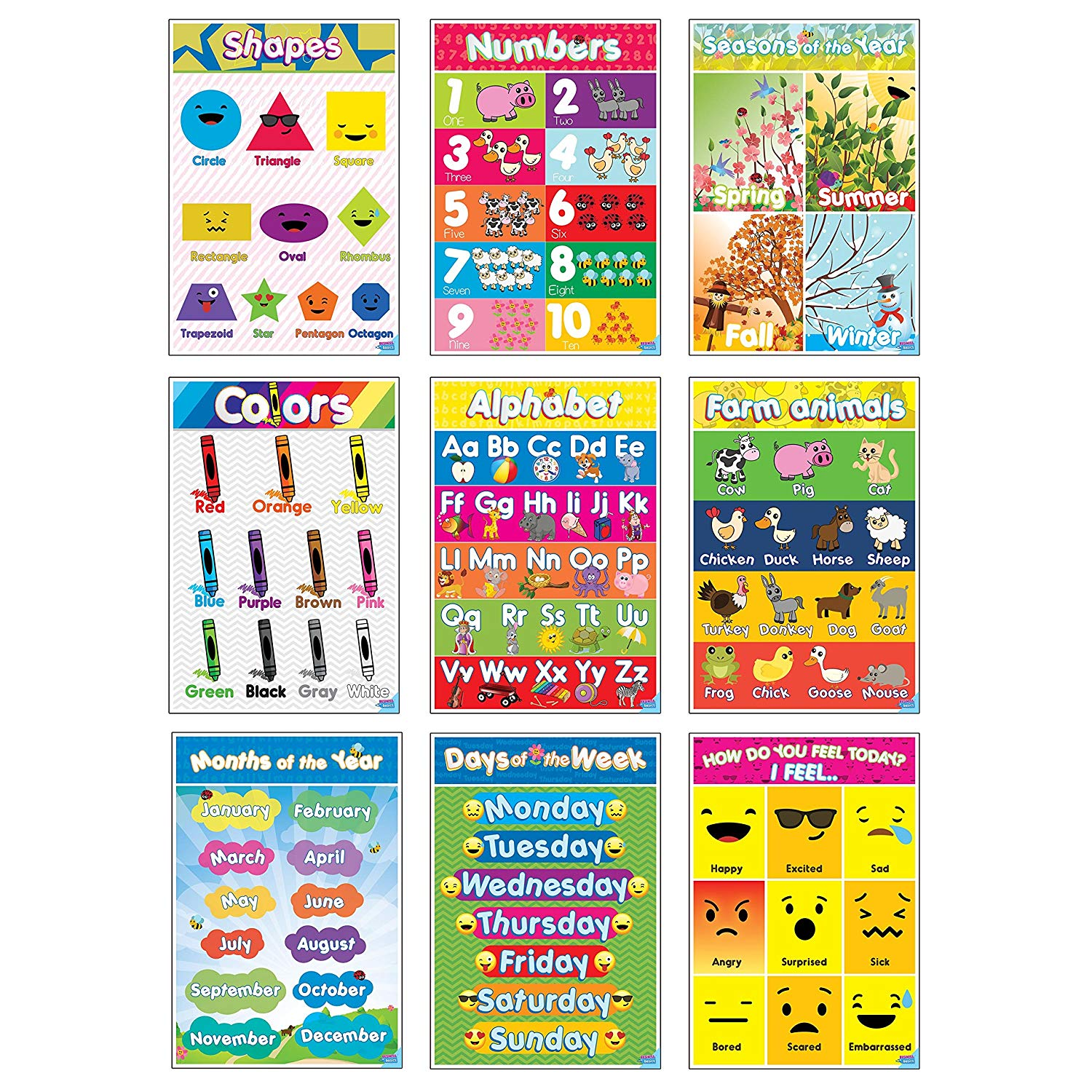 Educational Preschool Posters Toddlers Kids Children Home
