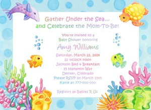 Details About Under The Sea Adorable Baby Shower Invitations