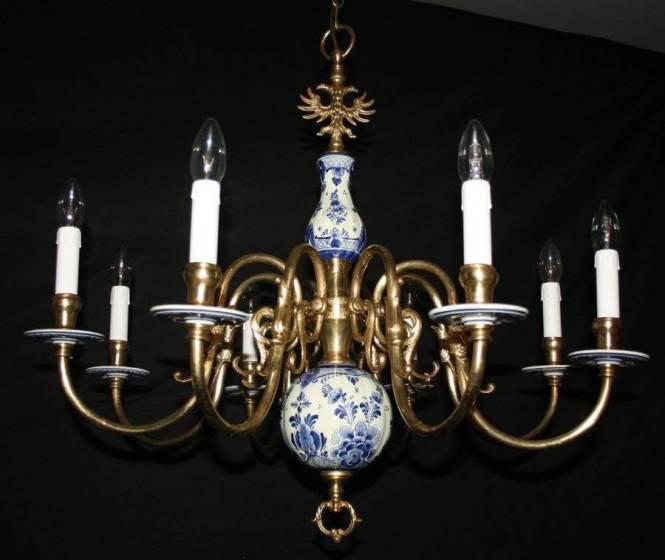 Vintage Flemish Delft Chandelier Blue White Ceramic Ceiling Light Ref Adc19