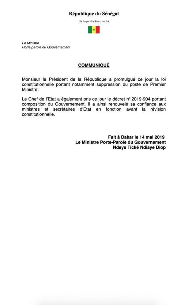 Suppression du poste de PM : La loi promulguée, Dionne part, le gouvernement reconduit