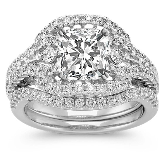 Halo Diamond Platinum Wedding Set With Pav Setting