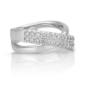 Round Diamond Criss Cross Ring   Shane Co  Tap to Zoom  thumbnail