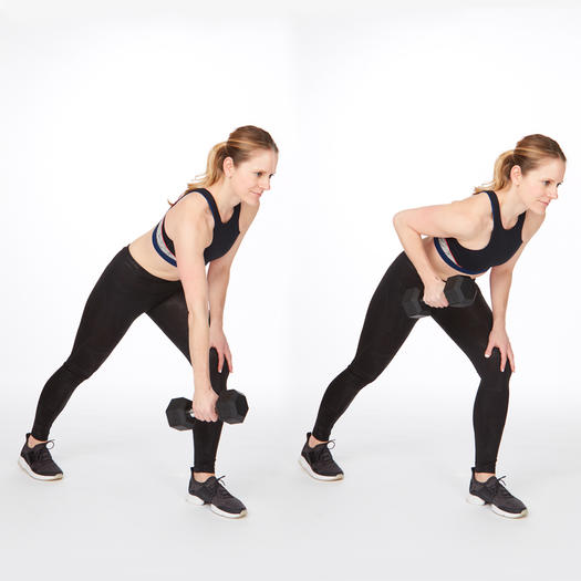 single-arm dumbbell rows exercise for back fat
