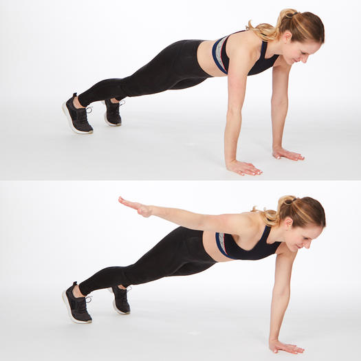 plank with lateral arm raise at-home back exercise for back fat