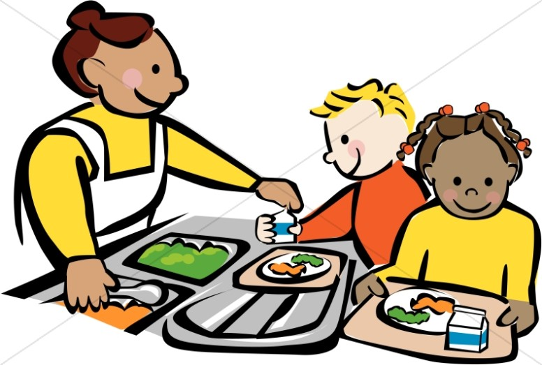 children getting lunch at cafeteria christian classroom clipart