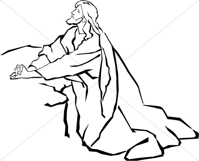 jesus in the garden of gethsemane in black and white jesus clipart