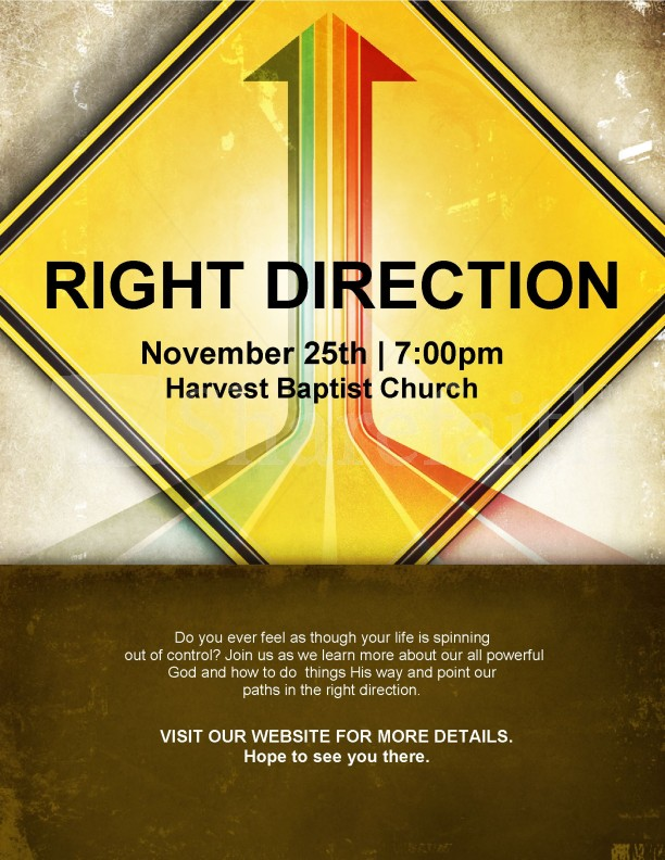 Right Direction Church Flyer Template Flyer Templates