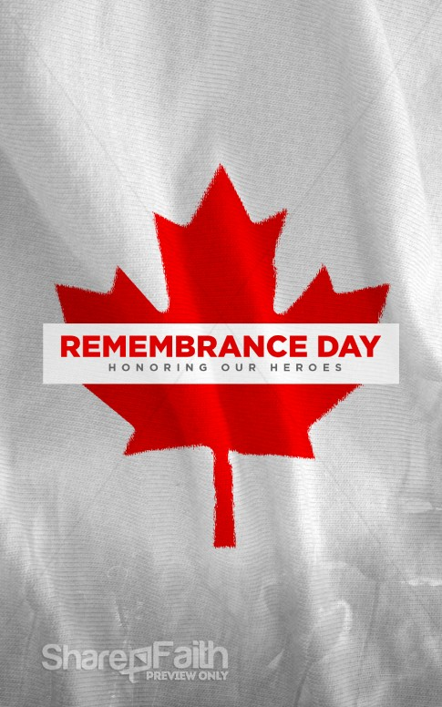 Remembrance Day Canada Flag Church Bulletin Secular