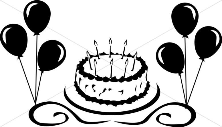 Birthday Cake With Balloons Graphic Church Birthday Clipart