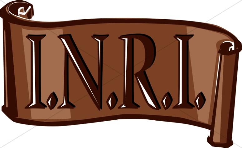 inri scroll in brown lent word art