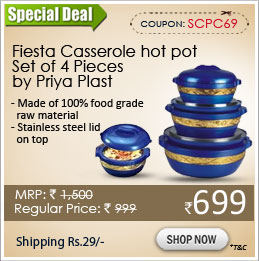 Fiesta Casserole hot pot Set of 4 Pieces by Priya Plast