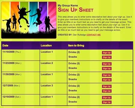 School Party Youth Group volunteer sign up form