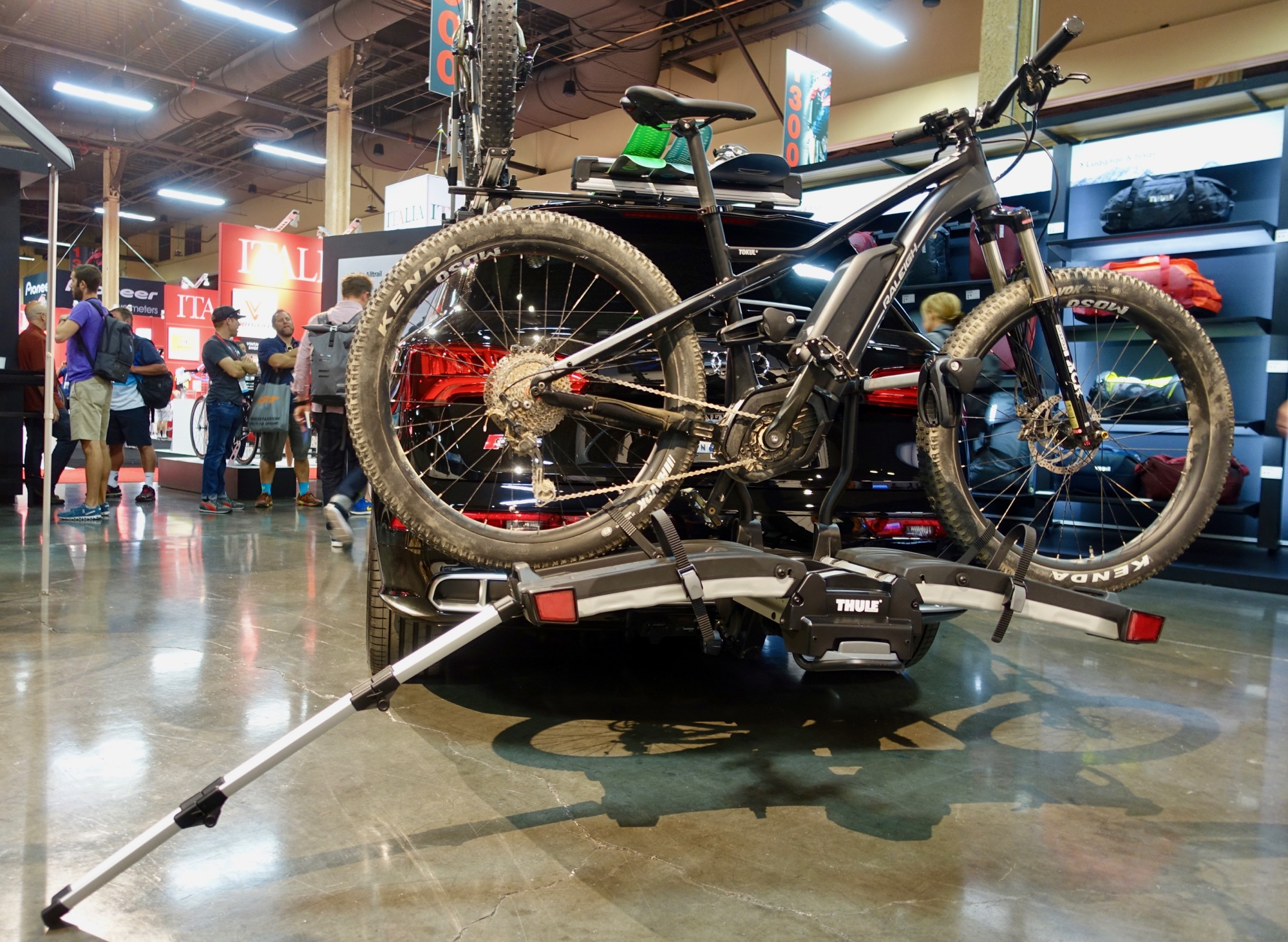 thule ebike hitch rack shows motorcycle