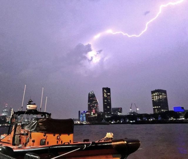 This Photo Made Available By Rnli Shows A Lightning Strike During A Storm In London