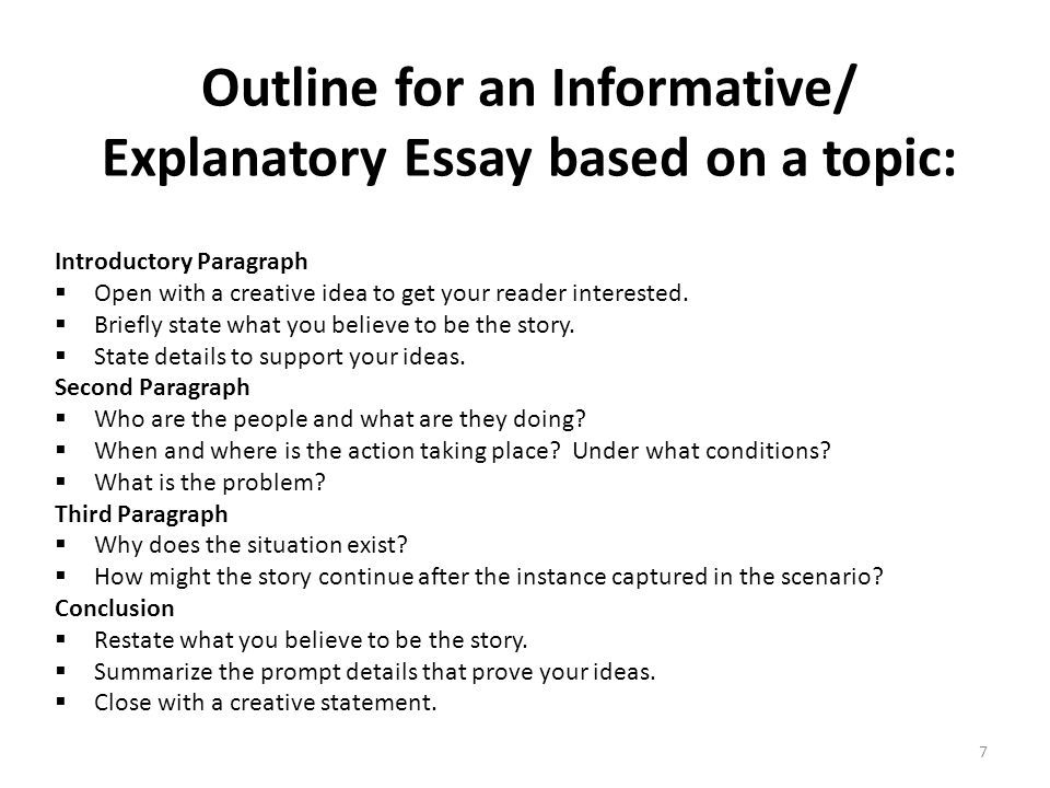 informational essay format Read this tutorial of how to write an expository essay outline i've also included a downloadable outline template for your convenience.