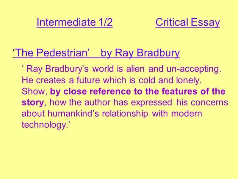 the pedestrian ray bradbury essay  mistyhamel ray bradbury essay poemsrom co the pedestrian english essayist scalawag  reconstruction