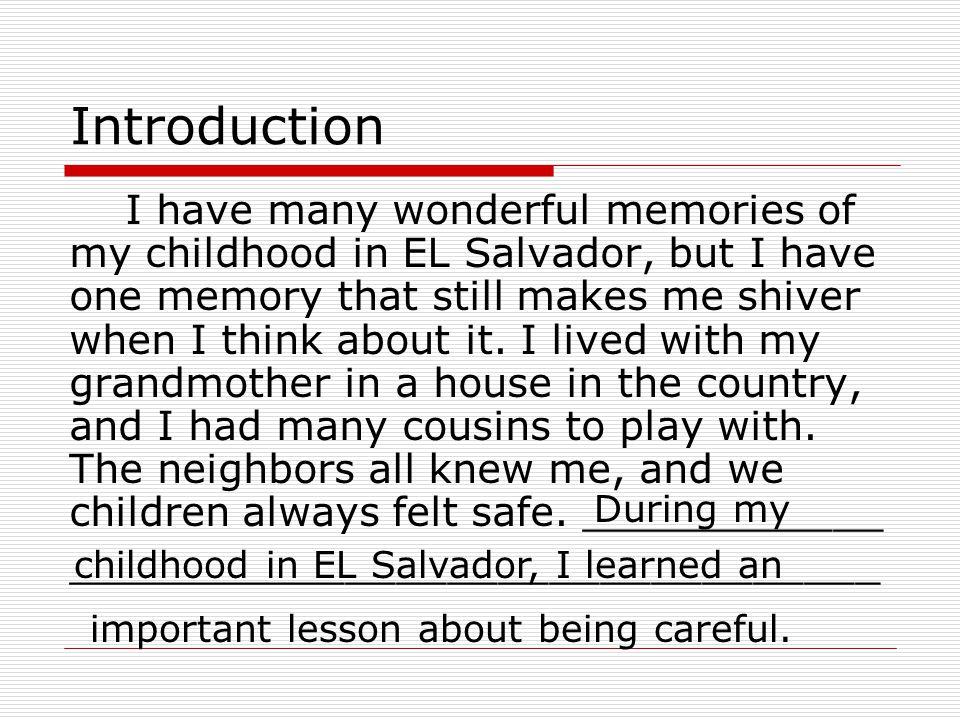 Essay About My Childhood Memories   Docoments Ojazlink