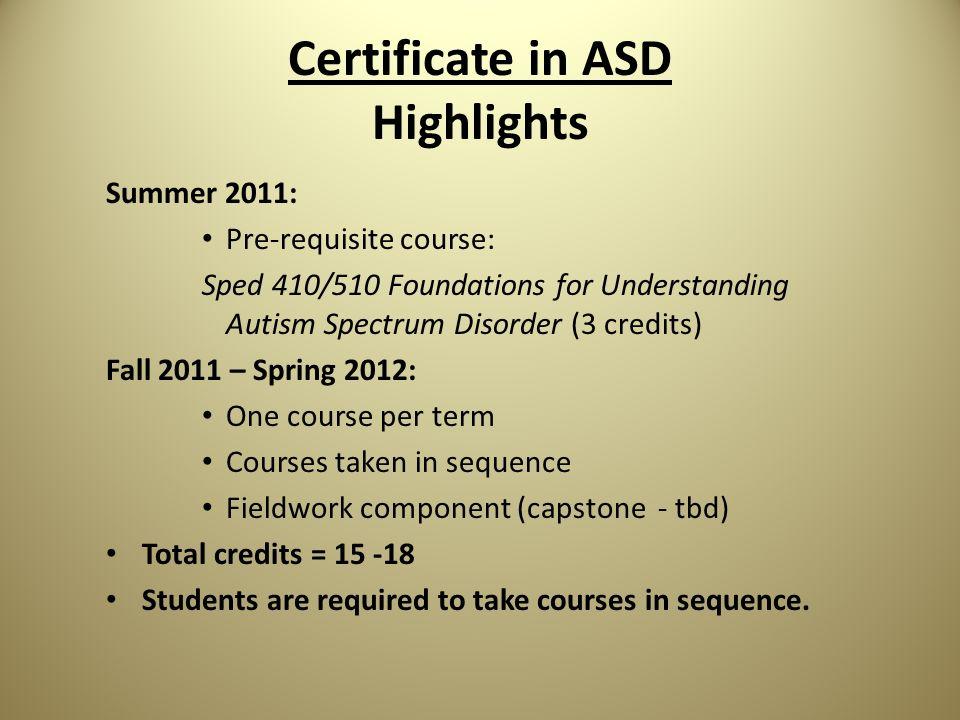 The Certificates In Autism Certificate In Autism Spectrum