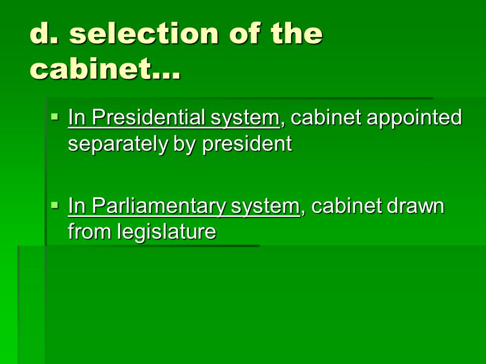 Good In A Parliamentary System From Where Are Cabinet Members Drawn