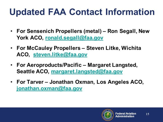 Presented To By Date Federal Aviation Administration Airworthiness And Or Operations Potential For Propeller Failure Ppt Download