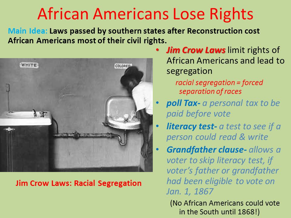 Image result for The end of Reconstruction Jim Crow  images