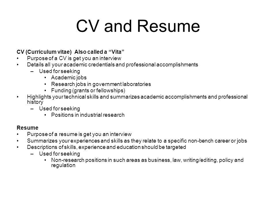 presentation citation resume