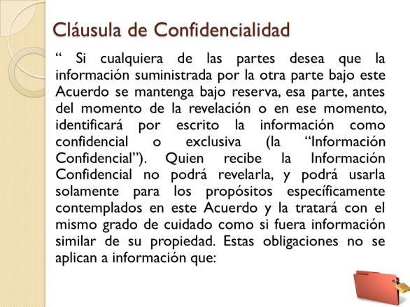 Resultado de imagen para clausula de confidencialidad