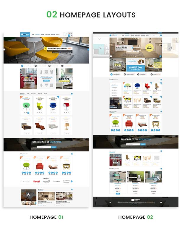 Opencart fashion theme - homepage layouts