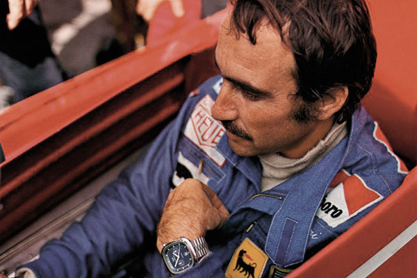 Formula One driver Clay Regazzoni was a Tag Heuer ambassador in  1974 and wore one of the original Silverstone watches.