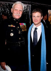 Decorated ... Captain Dale Dye with Ashton Holmes at the show's  premiere.