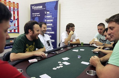 The Atlassian team enjoy a break from the daily grind at their poker table.