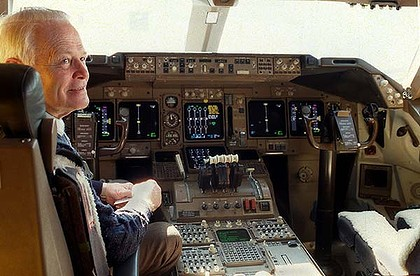 David Warren, inventor of the black box flight recorder, in the cockpit of a Boeing 747