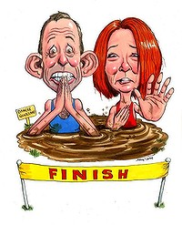 An illustration of Tony Abbott and Julia Gillard racing for a Finish line, but both stuck in the mud and unable to reach it