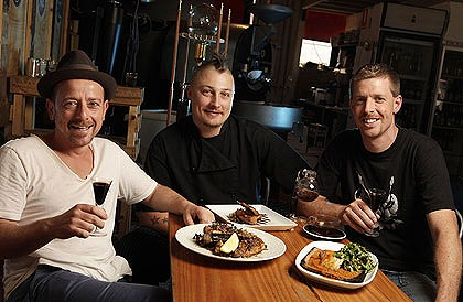 Salvatore Malatesta, Ben Cooper and Ross Quail at St Ali with their dishes matched with coffee.