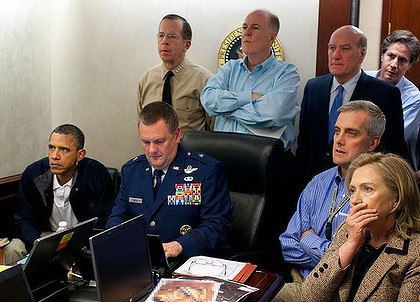 US President Barack Obama, Secretary of State Hillary Clinton and security officials watch events in Pakistan unfold in the White House situation room.