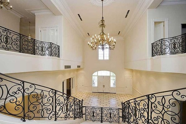 Grand staircase with Art Nouveau wrought iron decoration