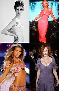 All shapes and sizes ... clockwise from top left, Twiggy, Marilyn Monroe, Christina Hendricks and Gisele Bundchen.