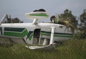 Lucky escape ... the plane flipped onto its roof.